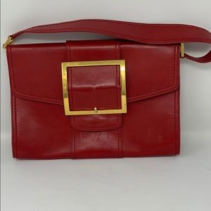 Authentic real leather red vintage Machino clutch